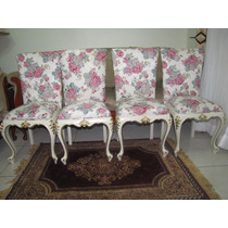 Poltronas Cadeiras Luis Xv Laqueadas Bege Com Tecido Floral