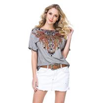 T-shirt Camiseta Lança Perfume Detalhe Em Pedras