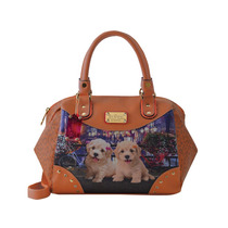 Bolsa Rafitthy Be Forever Poodles Flowers 11.61107k Caramelo
