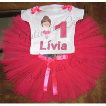 Fantasia Tutu Infantil Bailarina Pink Personalizada 1a8 Anos