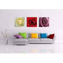 Kit 3 Quadro Rosas Decorativo Trio,sala,quarto,cozinha 45x45