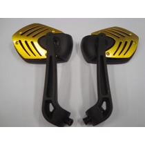 Retrovisor Esportivo Para Moto Universal Dourado (3925)