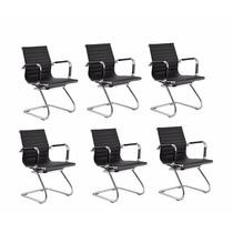 6 Cadeiras Para Escritório Diretor Charles Eames Fixa Preta