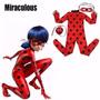 Fantasia Lady Bug Miráculos Infantil Acompanha Bolsa