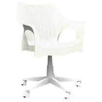Cadeira Office Para Escritório Branca De Rodízio Pé Giratóri
