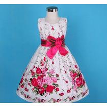 Vestido Infantil Festa / Aniversario Estampa Flores Pink