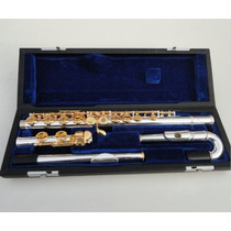 Flauta Yamaha 271s 2 Bocais Prateada Chaves Douradas