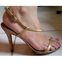 Sandalia Dourada Salto Alto - Nº 35