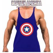 Camiseta Regata Super Cavada Musculação Capitão América 20%