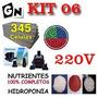 220v Kit 6 Espuma Fenólica Nutrientes Bomba Hidroponia Horta