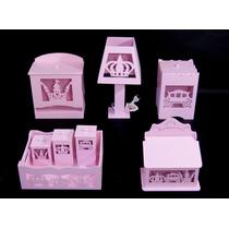 Kit Quarto Bebê Higiene Banho Mdf Farmacinha Princesa Rosa
