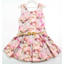 Vestido Festa Infantil Floral Com Bolero Gratis Tamanho 3