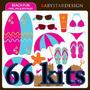 66 Kit Scrapbook Digital Praia Piscina Png 2054 Imagens+brid