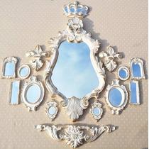 Kit Vitoriano, Coroa E Border + 11 Espelhos Ouro Provençal