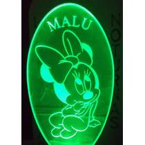 Luminária De Tomada Automática, Baby Minnie Personalizada *