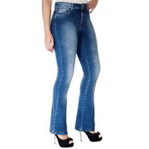 Calça Jeans Sawary Flare Cintura Média Preta Com Elastano