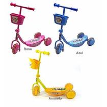 Patinete Infantil 3 Rodas C/ Luzes Bel Brink C/ Cesto