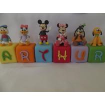 Topo De Bolo Turma Do Mickey / Minnie Em Cubo Biscuit Unid.