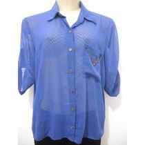 Blusa Feminina Azul Leve Transparência Tam M Usado Bom Estad