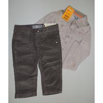 Conjunto Marisol Camisa Tecido Algodão E Calça Veludo Cotelê