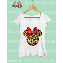 Camiseta Babylook Feminina Minnie Mickey Mouse Flamê Disney