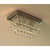 Luminária Retangular De Cristal Com 28 Pêndulos Para Sala