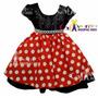 Vestido Infantil Festa Minnie Vermelho Com Tiara De Cabelo