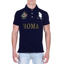 Camisa Polo Azul Decreto Base Roma Estilo Luxo