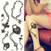 Tatuagem Temporaria 3d Grande Real Terço Corrente Coração
