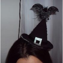 Tiara Arco Chapéu De Bruxa Com Morcego E Lanteloulas