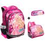 Kit Mochila Barbie Rock Royals Microfone Costas + Lancheira