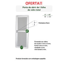 Porta De Alumínio Com Vidro Incolor 3mm Branco 60x 2,10