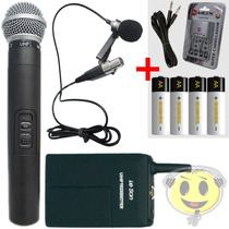 Microfone Sem Fio Duplo Leson Ls802 Mão Lapela Recarregavel