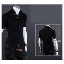Camisa Masculina Manga Curta Slim Fit - Pronta Entrega
