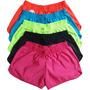 Kit 5 Shorts Feminino Tactel Liso Academia Corrida Elástico