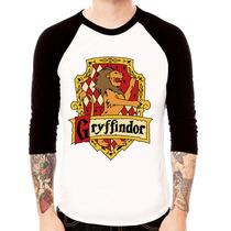 Camisa Blusa Raglan 3/4 Harry Potter Grifinória