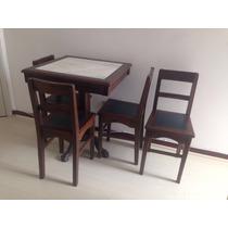 Mesa De Boteco Vintage Com Tampo De Mármore + 4 Cadeiras