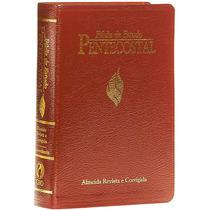 Bíblia De Estudo Pentecostal Pequena Com Harpa Luxo Vinho