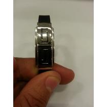 Pulseira Bracelete Masculina Em Aço Inox E Silicone