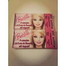 Barbie - Convite Ingresso Aniversário 50 Unidades