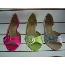 Peep Toe Colorido Salto Baixo - Promoção!!!!!!!!!!!!