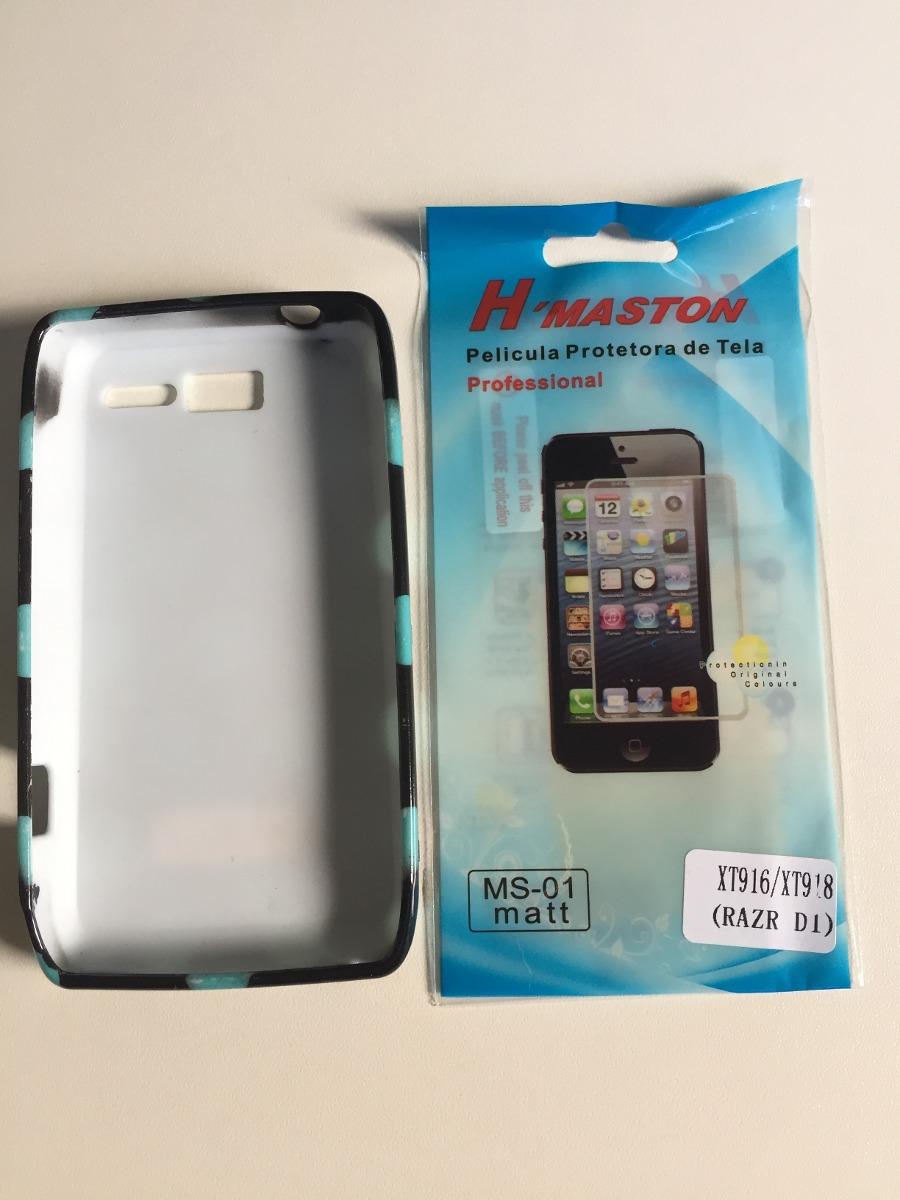 Capa Case Motorola Moto Razr D1 Bolinhas Com Pelicula Grátis