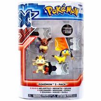 Mini Figuras Pokemon Xy Helioptile & Meowth & Eevee