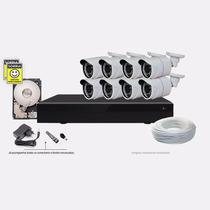 Kit 8 Cameras De Segurança Dvr P2p 1.3 Megapixel Ahd-m C/ Hd