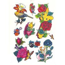 Kit Com 53 Tatuagem Temporária Motivo Borboleta Rosas Tribal