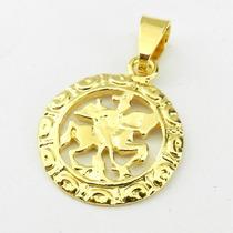 Pingente Sao Jorge 25mm Folheado Ouro Pi109