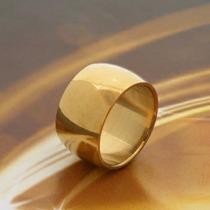Aliança De 12 Mm Folheada A Ouro 18 K Tungstênio