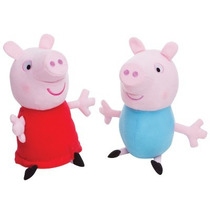 Bonecos De Pelúcia Estrela Peppa Pig E Seu Irmão George 30cm