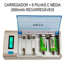 Kit Carregador Universal + 8 Pilhas Médias C 2900mah Recarre