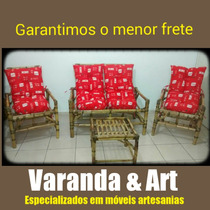 Conjunto De Sofá(namoradeira) +poltronas/cadeiras Vime/bambu